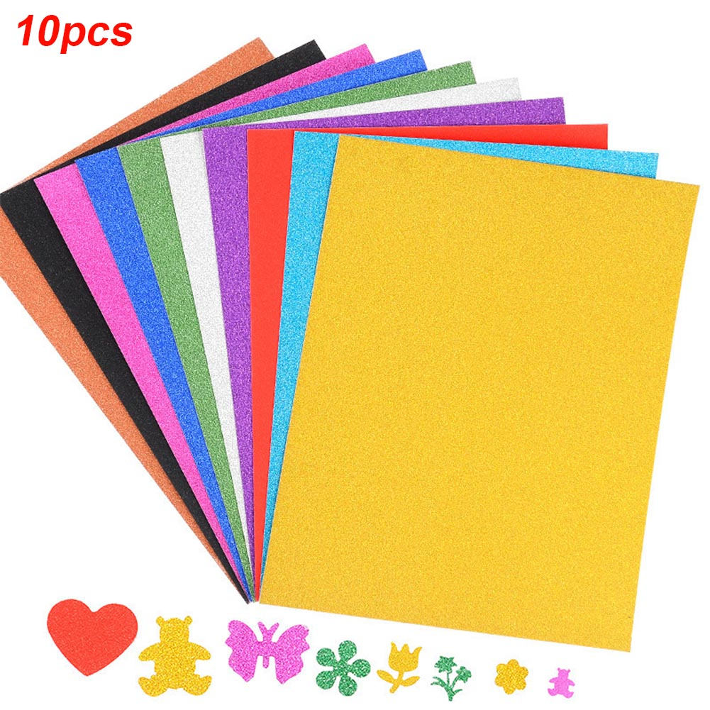 10 PCS/SET A4 Decorating Gift Self Adhesive Glitter Sheets Embossed Paper Manual DIY For Children