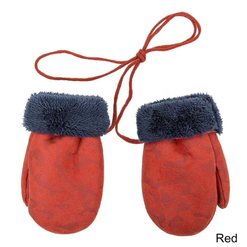 TRUENJOY, модные зимние перчатки для мальчиков и девочек, теплые, с веревкой, с полными пальцами, варежки, перчатки для детей, плюс бархатные зимние перчатки для детей - Цвет: D