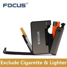 Metal Cigarette Boxes With Kerosene Oil Lighter 10pcs Moistureproof Cigarette Case Windproof Inflata