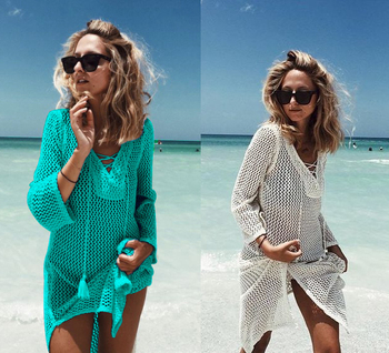 Multicolor Knitted Beach Cover-Up Sexy Hollow-Out Bating Suit Sarong Women Plus Size Fishet Mesh Beachwear Bikini Crochet Dress 1