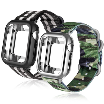 crested sport nylon band for apple watch 3 42mm 38 mm wove nylon watch strap for iwatch series 3 2 1 wrist bracelet watch band Nylon Sport strap+Case For apple watch 5 4 3 2 1 series 42mm 44mm band Apply to Iwatch 38mm 40mm Wrist bracelet Case accessories