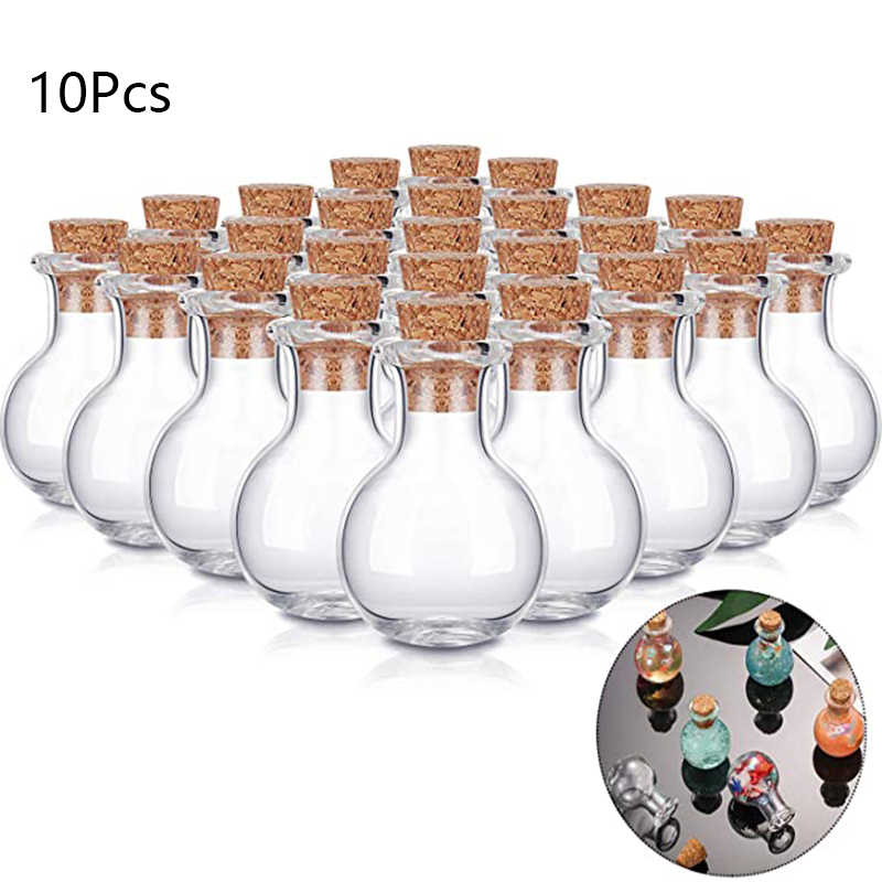 10pcs Mini Glass Wishing Bottle With Cork Stoppers Clear Drifting Small Wishing Bottles For Wedding Party Home Decor Supplies Clear-Cut Texture