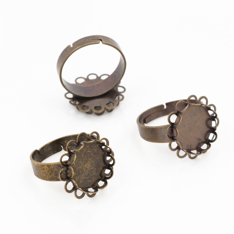 5pcs Antique Bronze Square Adjustable Ring Blank//BaseFit 20mm Cabochons