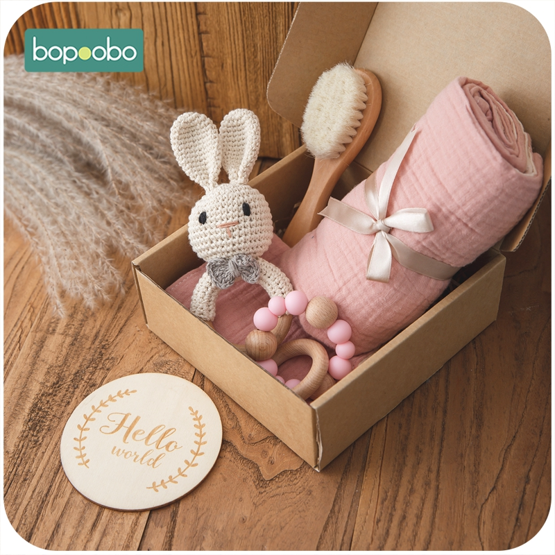 Bopoobo 1Set Bath Toys Set Kid Swaddle Wrap Baby Milestones Brush Rattle Bracelet Bibs Photography Supplies Birth Gift Product