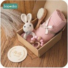 Bopoobo 1セットお風呂の玩具セット子供おくるみラップベビーマイルストーンブラシガラガラブレスレット誕生ビブ写真用品ギフト製品