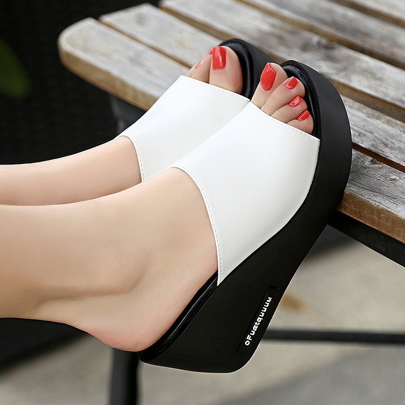 Summer Women's Sandals Wedges Leather Slip on Casual Beach Slides Platform Ladies  Shoes Height Increasing Chunky Sandals Mujer|Middle Heels| - AliExpress