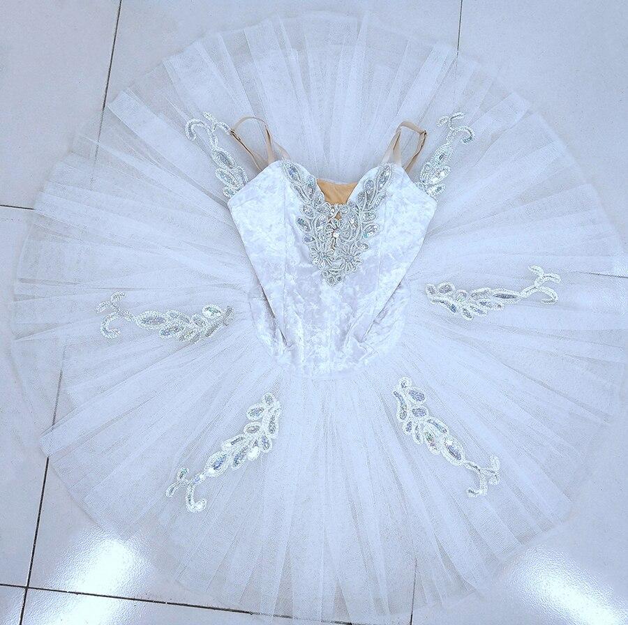 Professional Tutu White Women Pancake White Swan Ballet Tutus Stage Performance Pancake Tutu Ballet Costume Adults