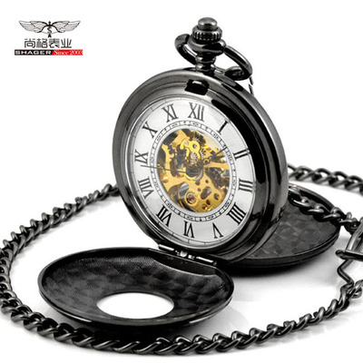 Retro Steampunk Pocket Watch Mechanical Pocket Watches Flip Clock Necklace Skeleton Vintage Pocket Fob Watch Chain Dropshipping