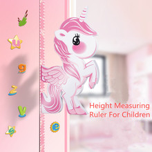 3D Wall Stickers Children 's Height Measuring Ruler Sliding Foam Material Cartoon Animals With Magnetic For Baby Room Wall Paper