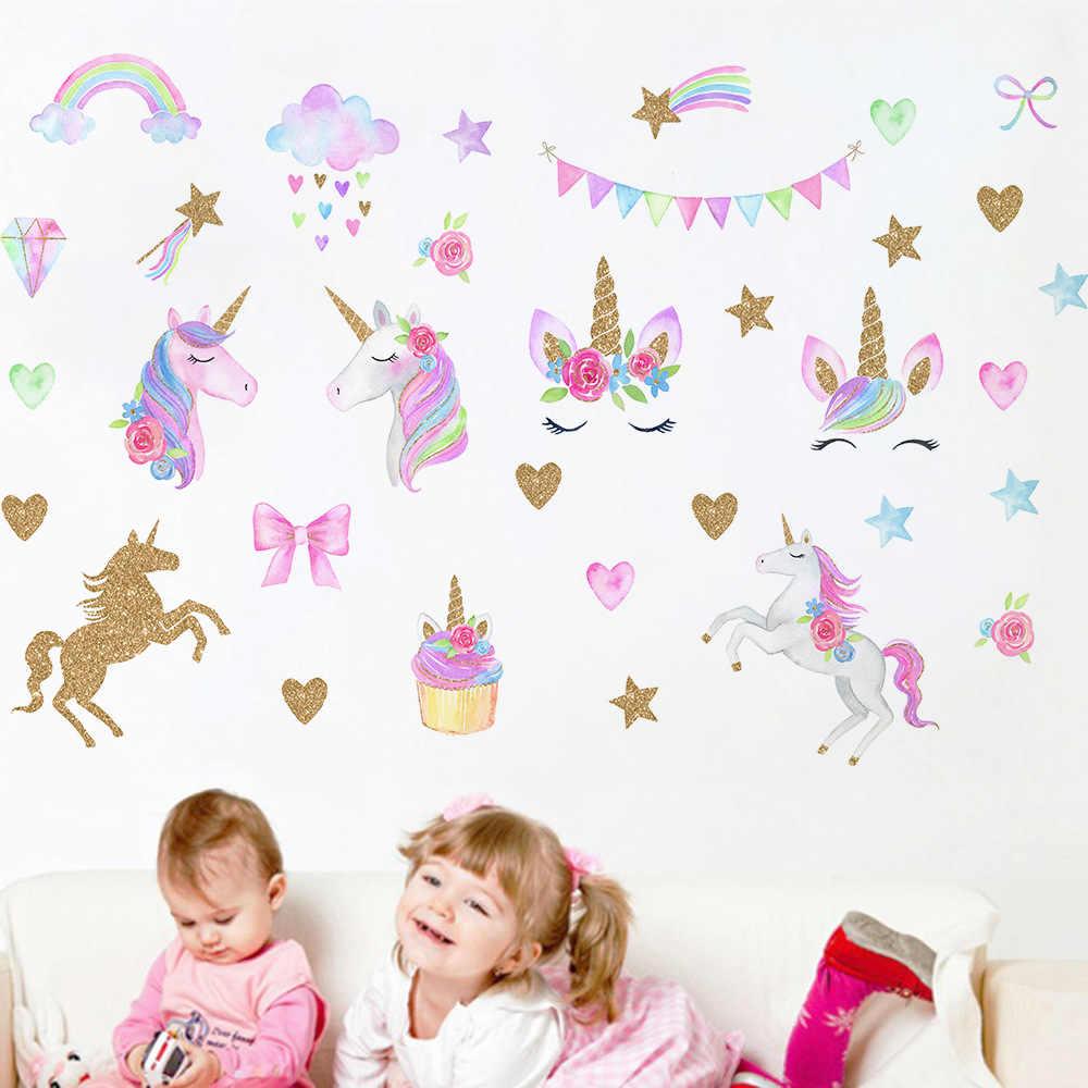Họa Tiết Hoạt Hình Dễ Thương Vàng Kỳ Lân Đám Mây Sao Cầu Vồng PVC Tường Dán Tường Hình Ảnh Cho Phòng Khách Bé Gái Ngủ Trẻ Em Nhà trang Trí