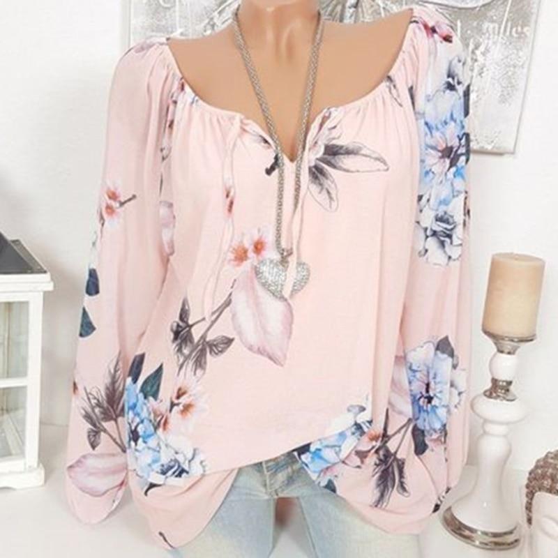 GAOKE S-5XL Women Fashion Trendy Long Sleeve Off Shoulder Tops Lace Up Floral Print Blouse Plus Size Shirts