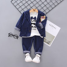 Baby Clothes Striped Coat Mustache Shirt Trousers Three-piece Suit Children Clothing Fashion Autumn Sets Leisure Cartoon Clothes(China)