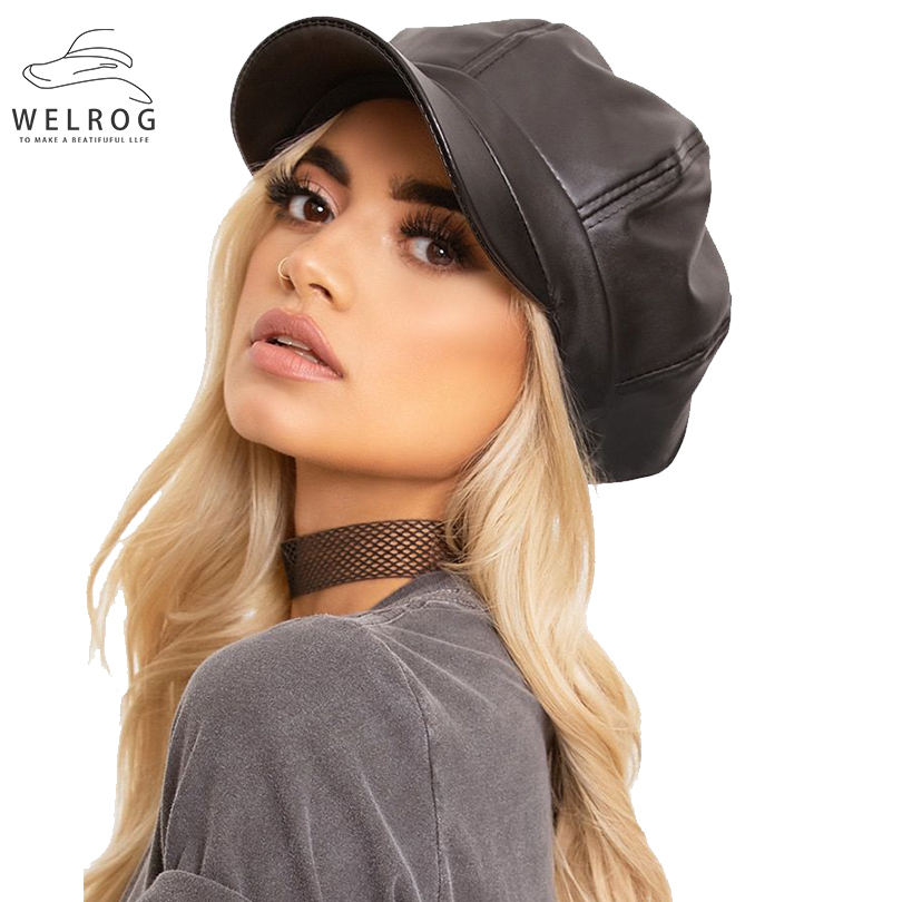 WELROG Women PU Peaked Beret Cap Girls Retro Solid Color Octagonal Cap Winter Autumn Painter Hats Classy Faux Leather Beret Hats