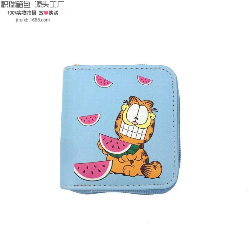 Korean-style Cute Garfield Pu Wallet Students Women's Short Zipper Bag Purse Document Package Yiwu