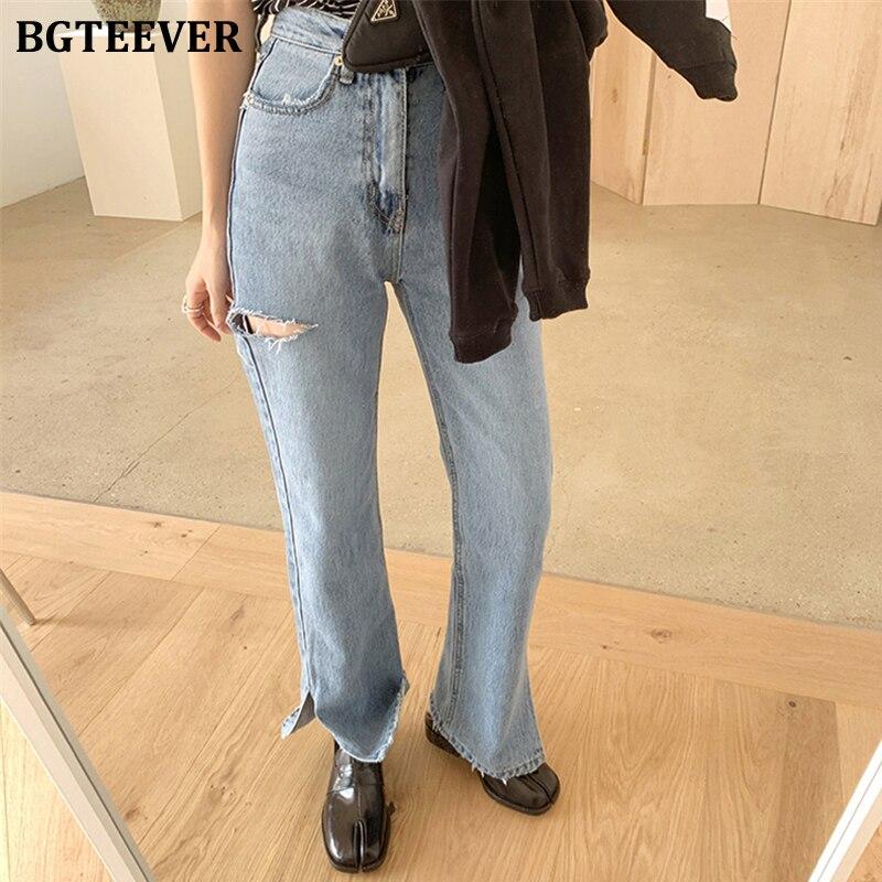 BGTEEVER Vintage Straight Women Jeans Split Ripped High Waist Jeans Pants Female 2020 Spring Summer Loose Denim Trousers Femme