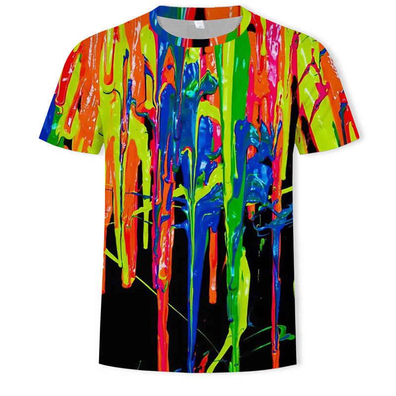 다채로운 예술 2019 여름 남자 패션 거리 3d 그래픽 t-셔츠 압축 그래픽 t-셔츠 사용자 지정 3d t-셔츠 인쇄 아시아 si