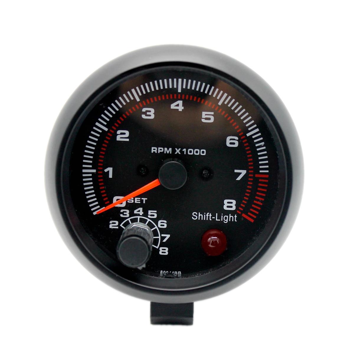"3.75/""//95mm Universal 0-8000RPM Car Tachometer Tacho Gauge Meter LED Shift Light"