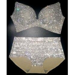 Женский комплект бикини 2020, шикарный карнавальный бюстгальтер со стразами, укороченный топ, трусики с кристаллами, праздничный комплект би...