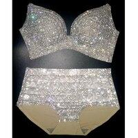 2020 Bikini Set Women Bling Diamante Carnival Bra Crop Top Crystal Panties Rave Festival Bikini Set Burning Man Outfit Club Wear