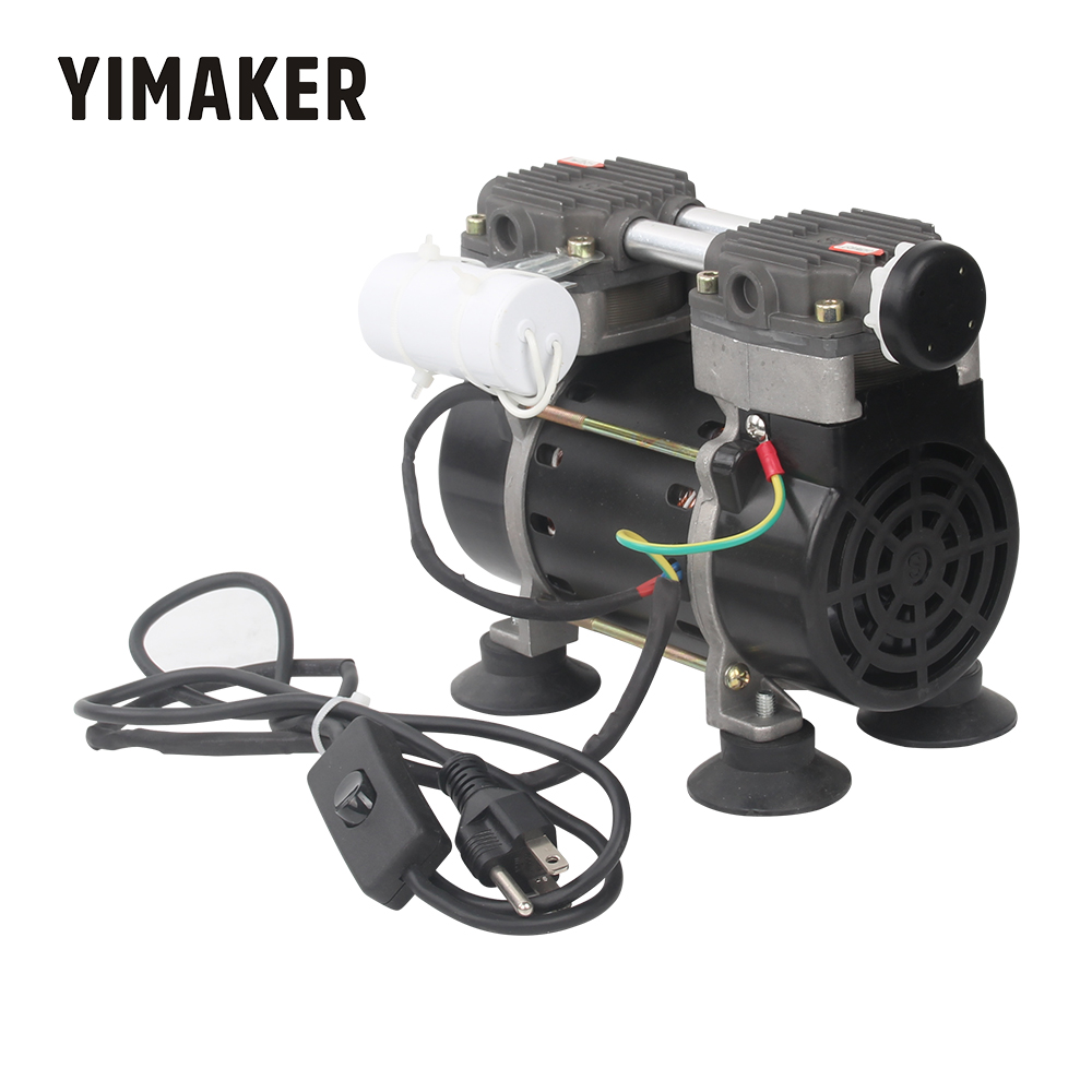 YIMAKER 165W <font><b>110V</b></font> 220V Piston Vacuum <font><b>Pump</b></font> AC Electric Silent Micro Oilless Aeration <font><b>Pump</b></font> 50L/min Vacuum Flow image