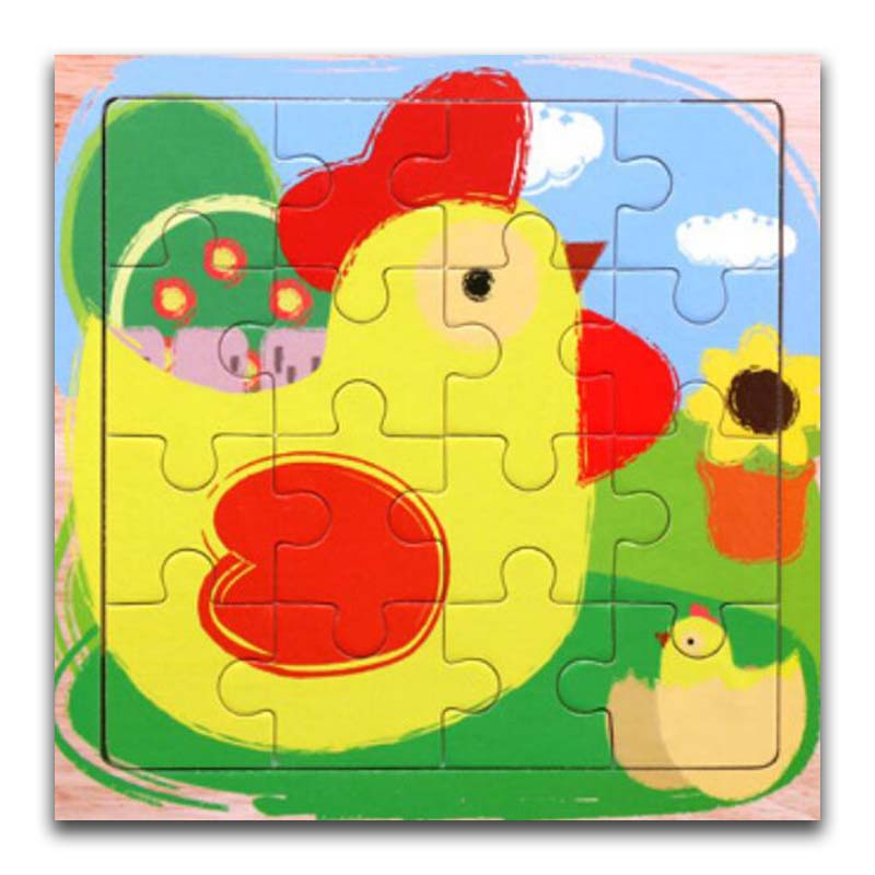 Wooden Puzzles Toys 16Pcs Kids Joy Superior Quality Puzzle Wood Cartoon Chicken Animals Jigsaw Educational Toys For Children