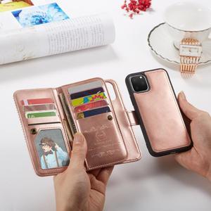 Image 3 - 9 posiadacz karty portfel etui na Apple iPhone 11 Pro Max Xs X XR 8 7 6 6S Plus 5 5S SE etui z klapką ze skóry odpinany magnetyczny futerał na telefon