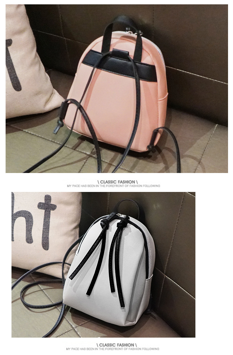 Casual Small Waterproof Backpack Women Solid Color Pu Leather School Bag Simple Mini Zipper Bookbags And Girls Travel Backpacks (18)