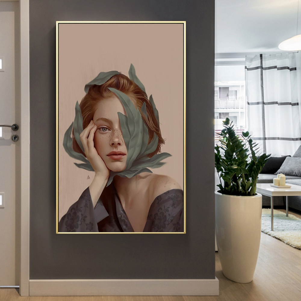 Modern Beautiful Girl Figure Decoration Pictures On The Wall Canvas Painting Wall Pictures For Living Room in Painting Calligraphy from Home Garden