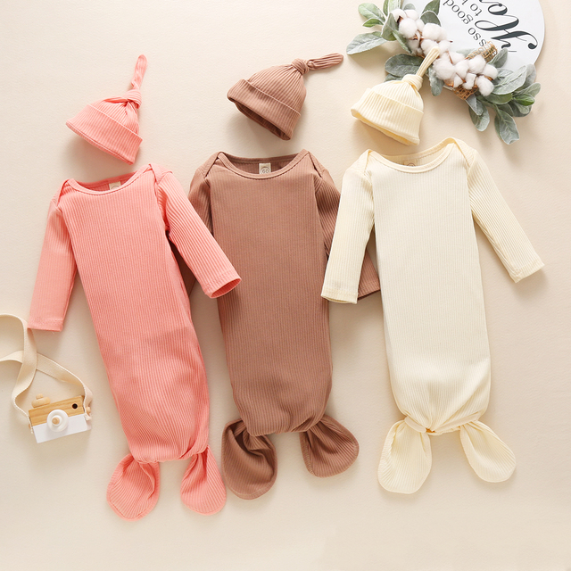 Toddler Newborn Baby Sleeping Bag Sacks Infant Solid Ribbed Long Sleeve Blanket Swaddle Wrap+Hat 2pcs Baby Bedding Clothes 2