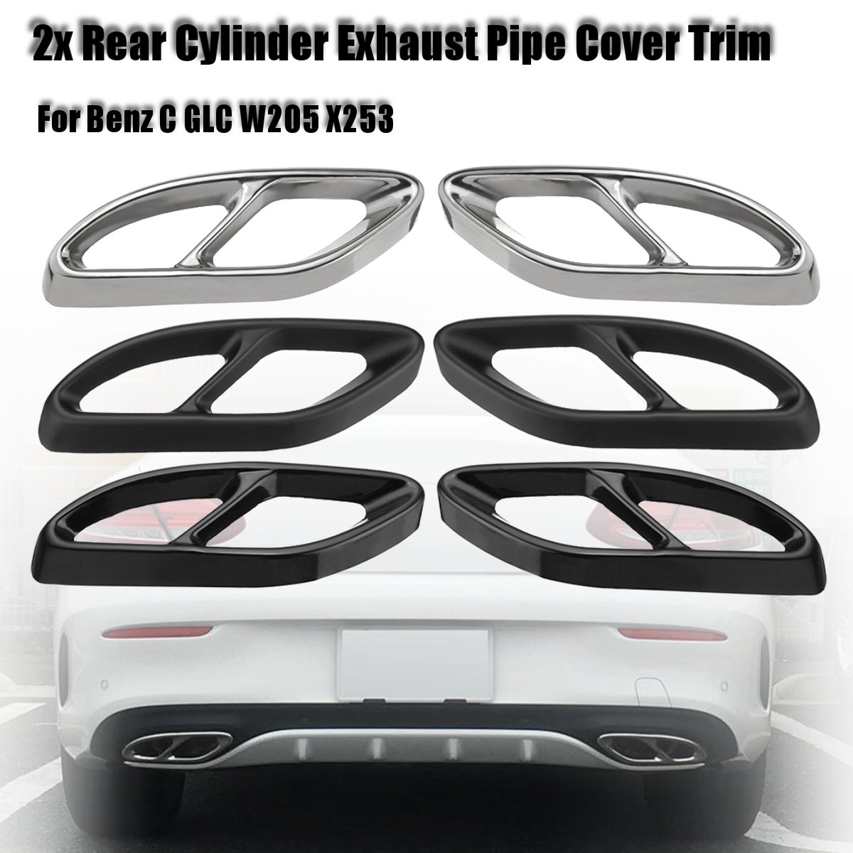 Carbon Black Car Rear Dual Exhaust Pipe Stick Covers Auto Exhaust Muffler Trim For Benz C GLC W205 X253 2015 2016 2017 2018