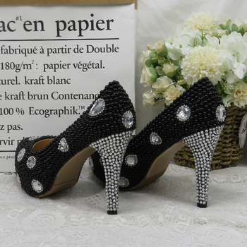 BaoYaFang Black Beads Pearl women Party shoes Bride High heels shoes ladies dress shoes woman Round Toe High Pumps Silver Heel