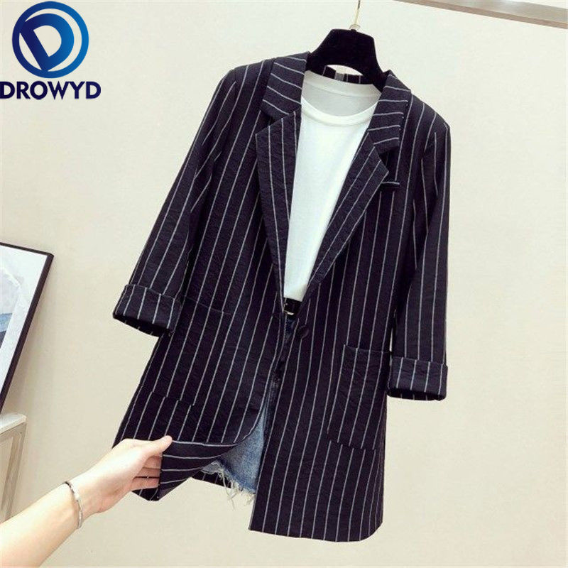 Women Black Striped Blazers 2020 Fashion Lady Office Work Suit Pockets Jackets Coat Casual Loose Tops Long Sleeve Femme Blazer