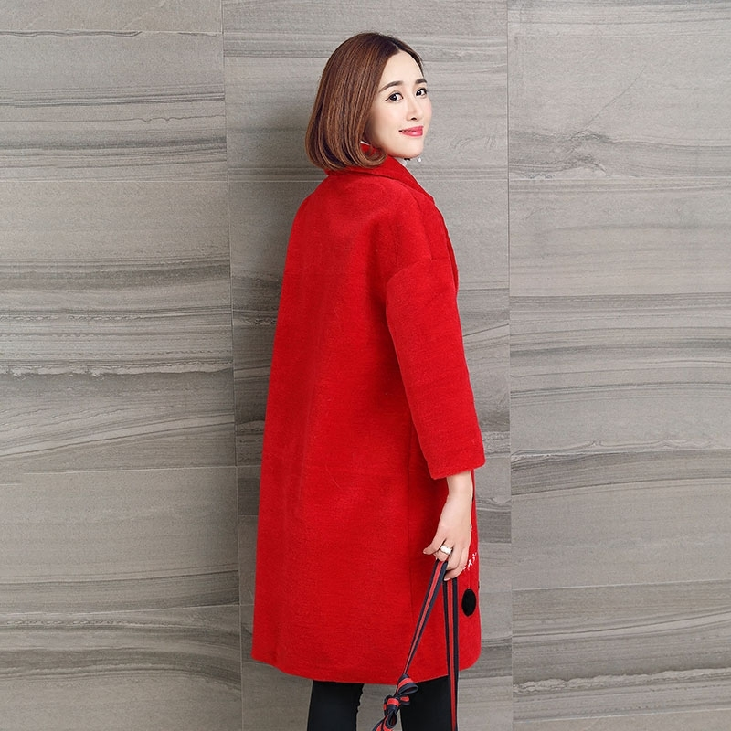 Women's Real Fur Coat Winter Warm Woo Coat Long Shearling Jacket Female Red Embroidery Overcoat Chaqueta Mujer LX2490