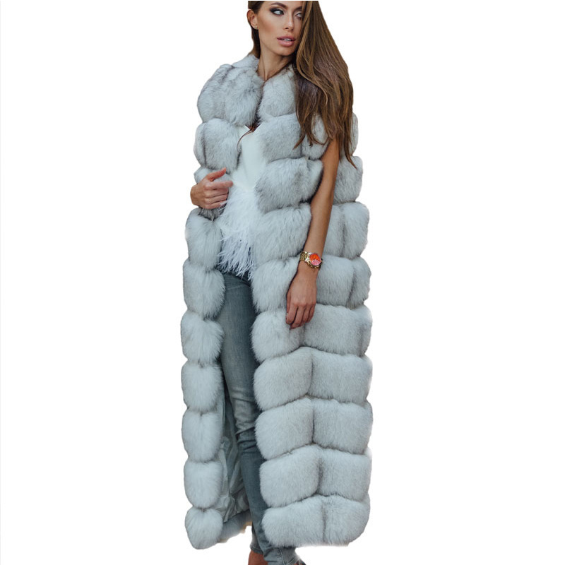 ZADORIN Luxury 10 Steps Women X- Long Faux Fox Fur Vest Furry Soft Fur Jacket Plus Size Thick Warm Vintage Overcoat Streetwear