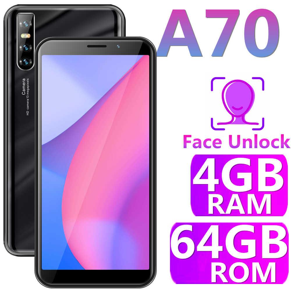 الهاتف المحمول الأصلي A70 ذاكرة الوصول العشوائي 4GB RAM 64G ROM 13MP 6.0 بوصة التعرف على الوجه الهواتف الذكية غير مقفلة نظام التشغيل أندرويد الهواتف الخلوية