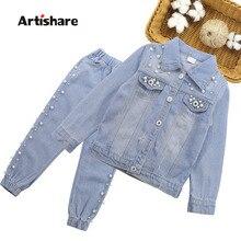 Conjunto de roupas para meninas, decoração com pérolas + jeans 2 pçs, conjunto de roupas para meninas, estilo casual, roupas infantis para meninas 6 8 10 12
