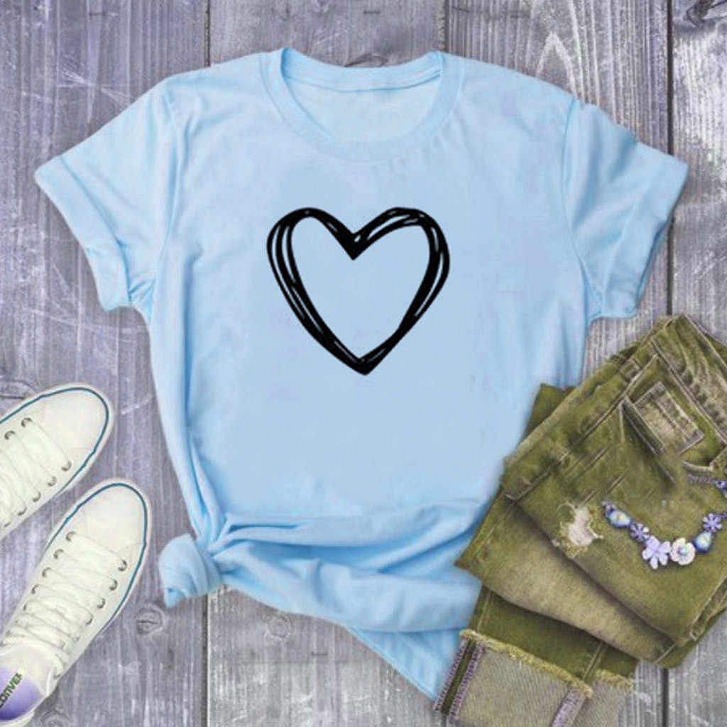 T camisa mujeres Harajuku Mujer 2020 pantalón corto Casual manga corazón impreso de hombre tlife Tops Tee Camiseta Mujer футболка # w