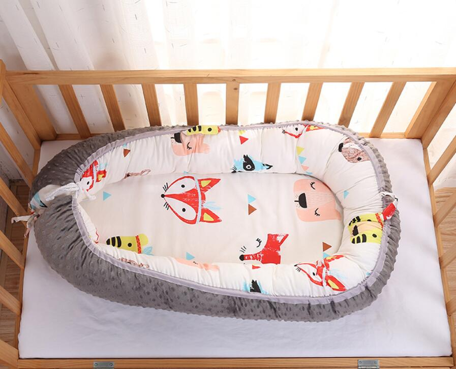 FOX Pattern Baby Nest Bed Portable Crib Travel Bed Infant Toddler Cotton Cradle For Newborn Baby Bassinet Bumper