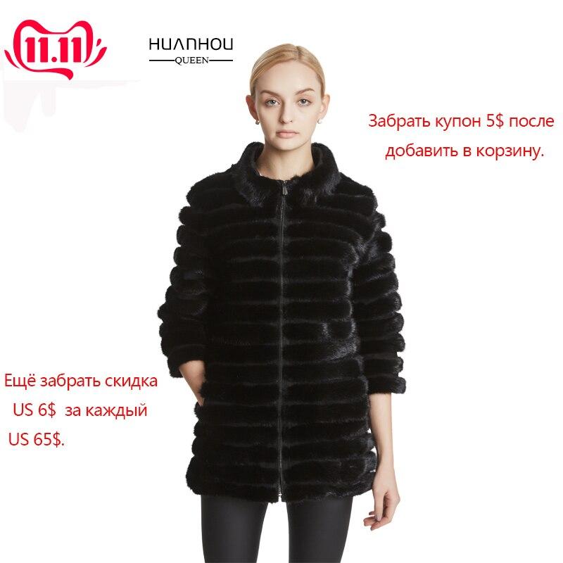 Huanhou rainha real pele de vison casaco feminino com gola mandarim, inverno popular moda quente extra grande casaco tamanhos grandes.