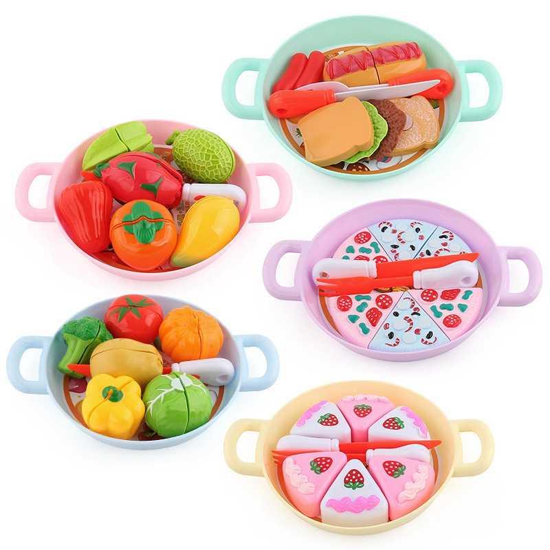 Juego de juguetes de cocina para bebés, juego de simulación en miniatura, juego de comida para niñas, juguete de Pizza para niños, muñeca de fruta de plástico, comida divertida para niños regalos