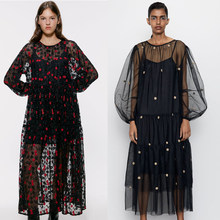 2019 ZA Fashion Solid Voile Lace Maxi Dress Women Autumn Trendy Black Embroidery Sexy Wedding Party Clud Dress Fall Clothing(China)