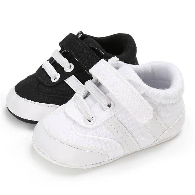Baby Boy Shoes Soft Canvas Stripe Black White Casual Sneaker First Walkers Toddler Hook&loop Infant Crib Shoes Unisex