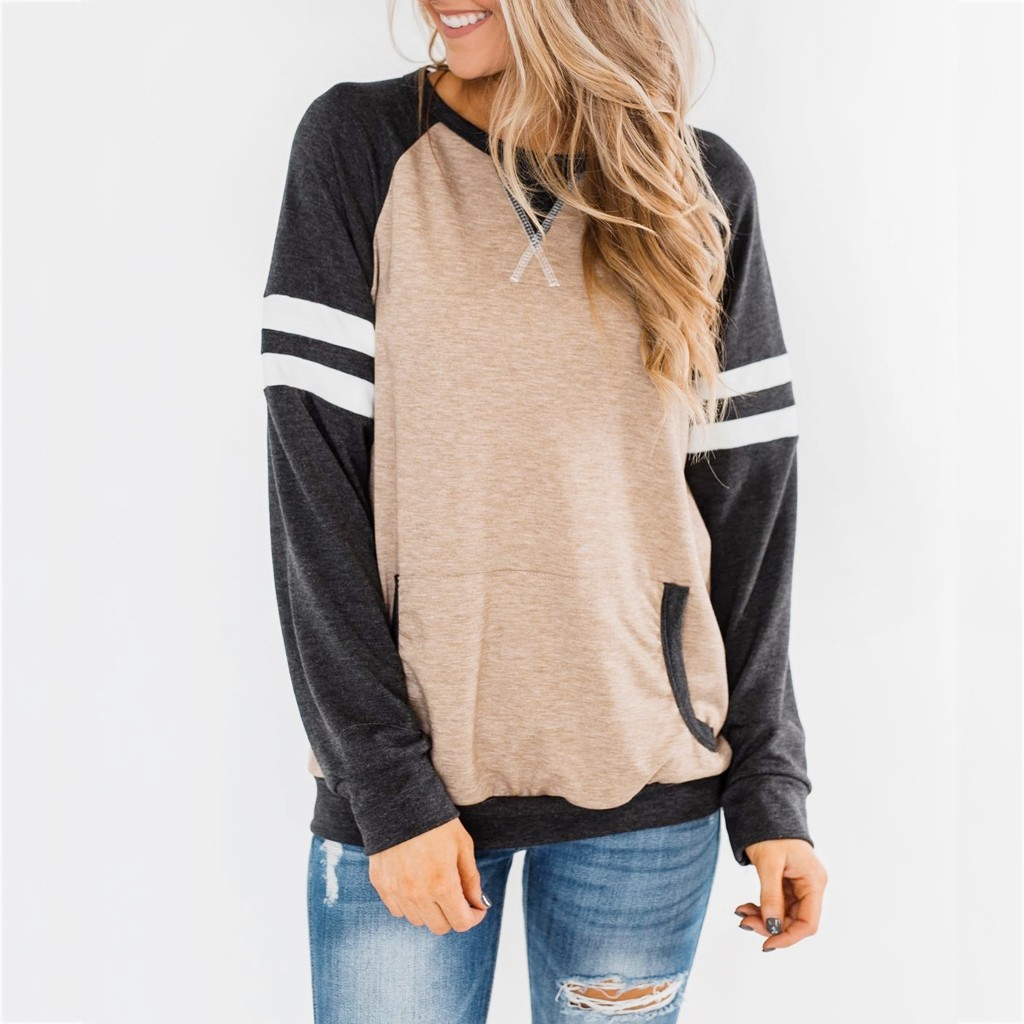 Womens Patchwork Sweatshirt Casual Long Sleeve O Neck Pockets Striped Pullover Tunic Tops Casual Ladies Sweatshirt Spring Hoodie