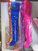 15 17 20cm over the knee boots, color changing materials, zipper openings for dancers fashion sexy runway shoes to thigh boots