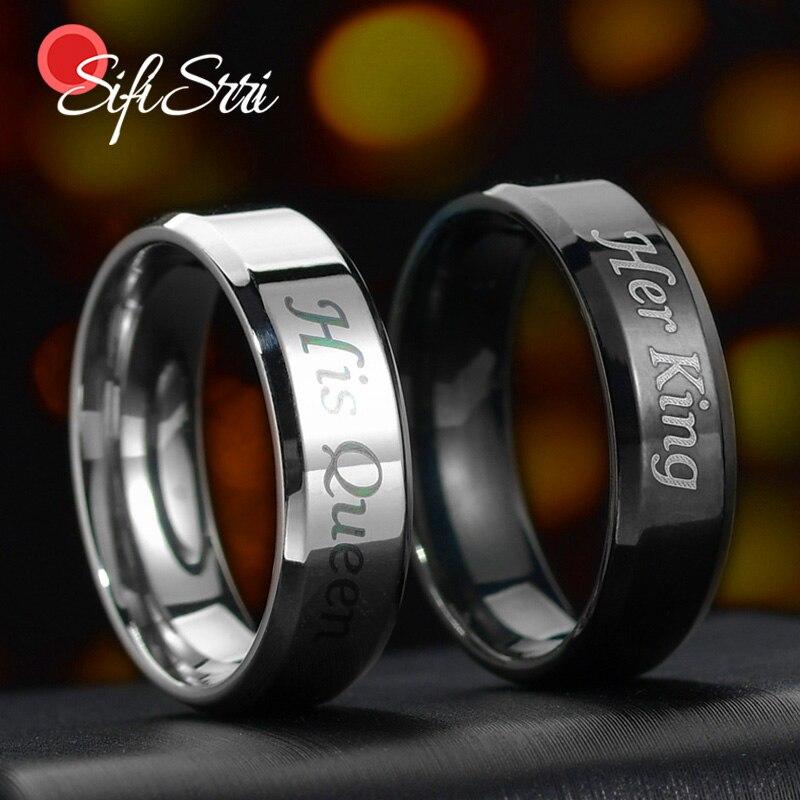 Sifisrri 6MM Edelstahl Hochzeit Band Ringe Romantische Ihre Art Seine Königin Paar Ringe Engagement Schmuck Valentinstag geschenk