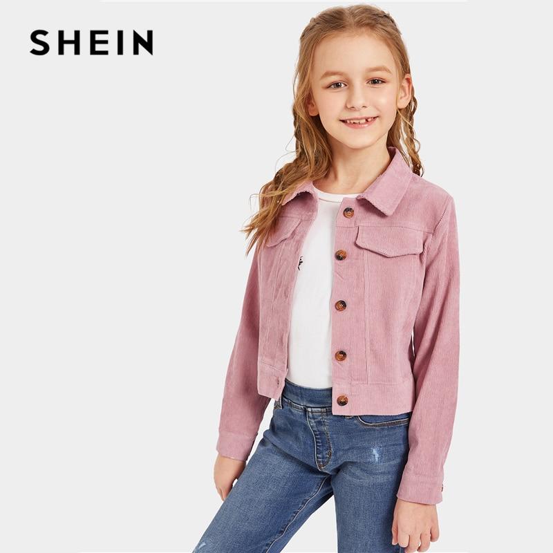 SHEIN Kiddie Girls Pink Single Breasted Button Front Jacket Coat Teenagers 2019 Autumn Turn-down Collar Chidren Cord Jackets