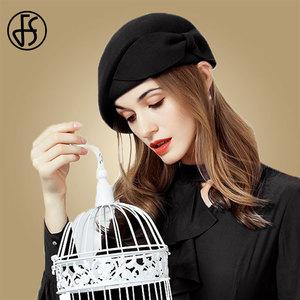 Image 2 - FS レディースレッドウェディング帽子女性のためのヴィンテージ 100% ウールはピルボックス帽子黒の魅惑的な冬 Fedoras 弓ベレー帽教会帽子