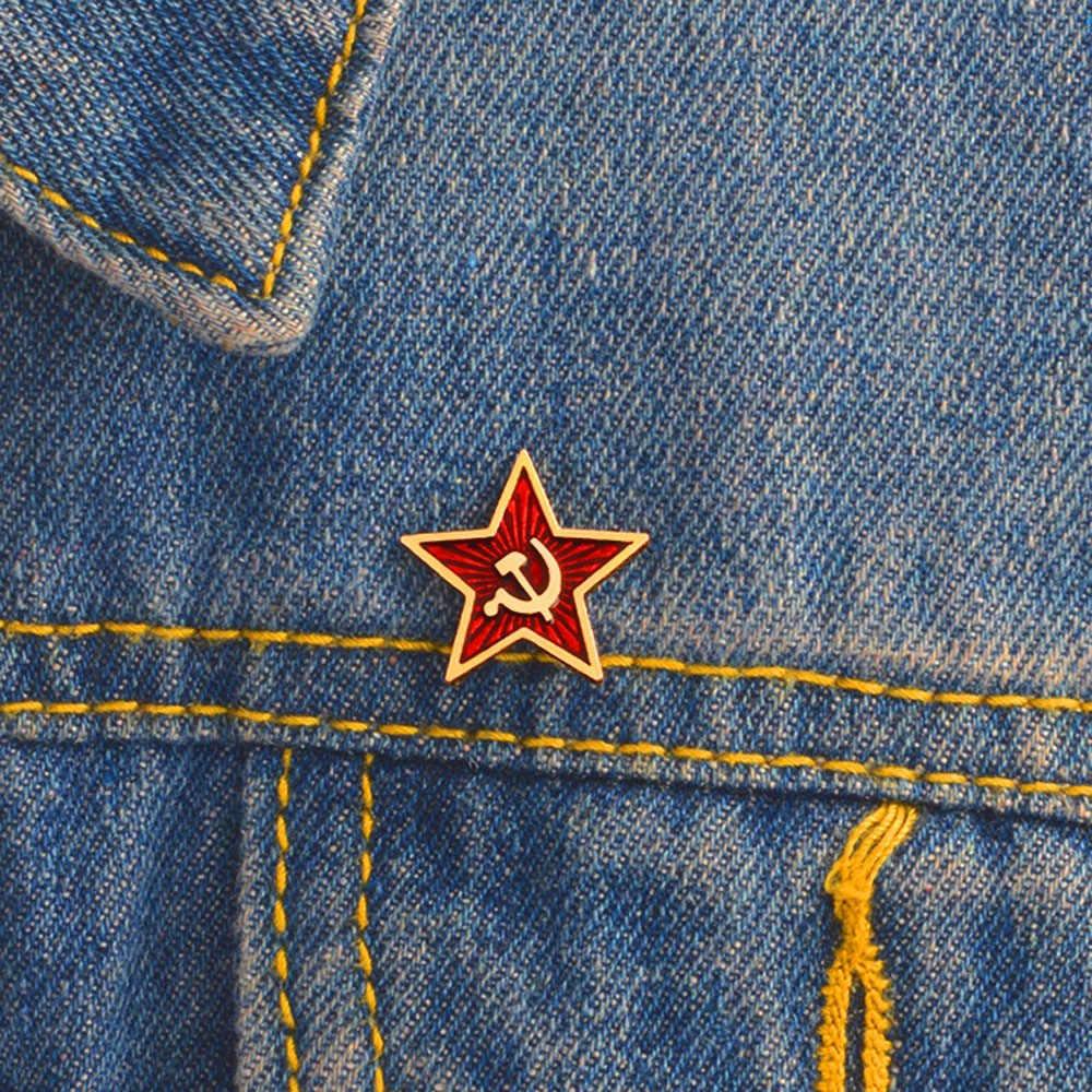 Retro Liên Xô Biểu Tượng Men Pin Ngôi Sao Đỏ Búa Liềm Chiến Tranh Lạnh Xô CCCP Thổ Cẩm Tặng Biểu Tượng Huy Hiệu Ve Áo Pin Dành Cho áo Khoác Nón