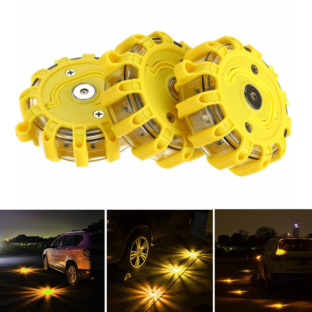 1/3pcs 12X LED Emergency Safety Flare Yellow Road Flare Magnet Flashing Warning Night Lights Roadside Disc Beacon For Car