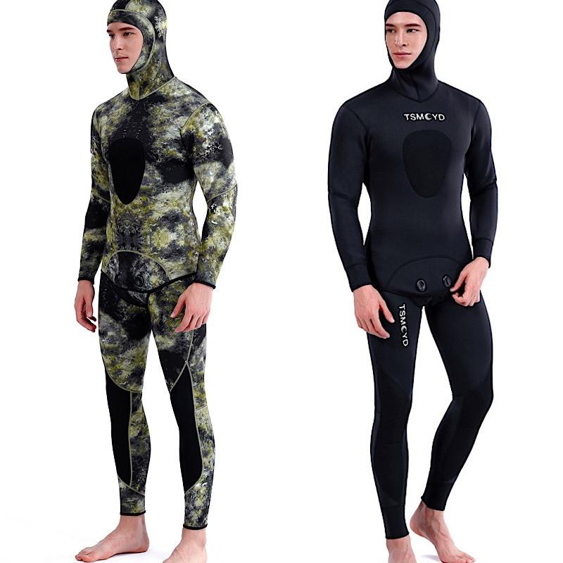 TSMC 3 мм камуфляж длинный рукав деление с капюшоном 2 части неопрена подводный костюм для мужчин сохраняет тепло Водонепроницаемый Дайвинг к...